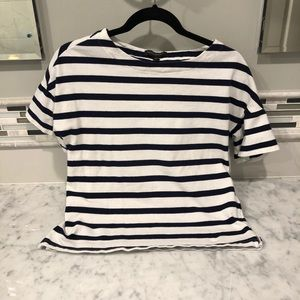 Banana Republic Navy Blue / White Striped Top